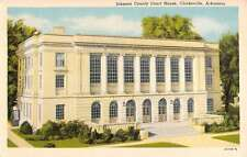Clarksville Arkansas Johnson Court House Street View Antique Postcard K35202