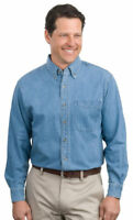Port Authority Men's Button Down Collar Long Sleeve Cotton Denim Shirt. S600