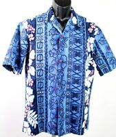 Royal Creations Hawaiian camp shirt men's large blue with purple flowers