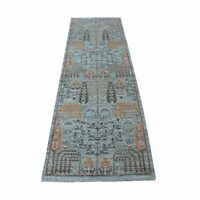 "2'6""x8'1"" Gray Willow and Cypress Tree Design Wool Hand Made Runner Rug R54873"