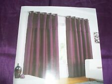 "Aubergine faux silk lined curtains, pleat detail . ring top 90"" x 90"" BNIB"