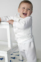 Baby Boys 4 Piece Christening Outfit / Christening Suit White Paisley