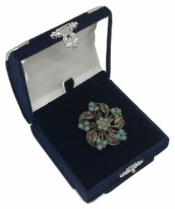 Vintage Floral Design Brooch Dark Tone Metal Faux Turquoise Beads Costume VGC