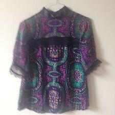 Nanette Lepore Purple Floral Black Lace Short Sleeves High-Neck Blouse Size 6