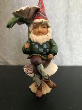 "Jim Shore Heartwood Creek #4037668 Gnome Sweet Gnome w/flower & mushroom 6"""