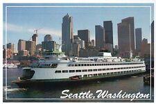 Ferry and Skyline of Seattle Washington, Waterfront Harbor, WA - Modern Postcard