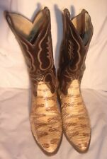 TONY LAMA SNAKESKIN AND LEATHER COWBOY BOOTS SIZE 10 1/2D PRE OWNED LOOK NICE
