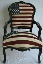 LOUIS XV ARM CHAIR FRENCH STYLE CHAIR VINTAGE USA FLAG