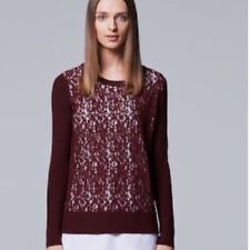 NWT Women's Simply Vera Vera Wang Mock Layer Lace Sweater Small - Rhubard