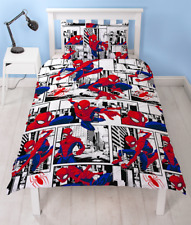 Marvel Spiderman Metropolis White Reversible Single Duvet Cover Bedding Set