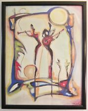 "Abstract Artwork Alfred Alexander Gockel ""Spotlight on Guitar"" Lithograph 38x30"