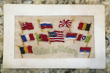 "WWI Patriotic Postcard ""United for Victory"" Flags of U.S. & Allies Embroidered"
