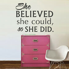 Inspirational Wall Decal She Believed She Could Quote Vinyl Girl Room Art Decor