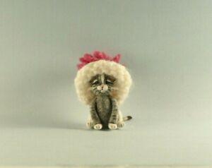 OOAK~Tabby Cat~Kitten~Hat~Christmas~Baby Toy~Artist Doll~Dollhouse~Cheryl Brown