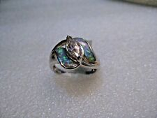 Sterling Silver  Opal & Pink Topaz Ring, Rhodium Plated, Size 7.5, Inlaid, 4.00g