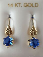 Blue Sapphire Round Cut Hook Closure Earrings 14kt Solid Yellow Gold