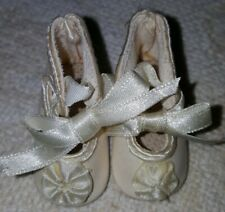 """French or German style shoes 4 antique bisque vintage composition doll 2"""" long"""