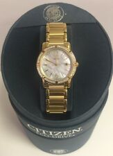 CITIZEN ECO-DRIVE EW0902-51D PALIDORO GOLD TONE DIAMOND BEZEL WATCH