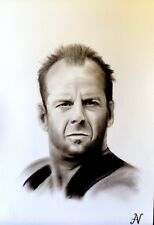 Bruce Willis - ritratto portrait grafite e carboncino cm. 33 x 48