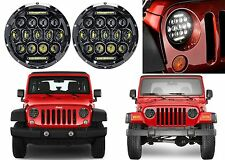 "Pair 7"" Round LED Black Housing Headlights For Jeep Wrangler New Free Shipping"