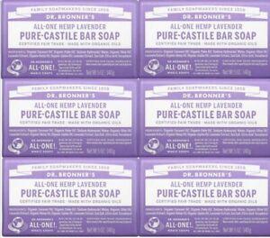 Dr. Bronner's Pure-Castile Bar Soap Lavender 5 ounce 6-Pack