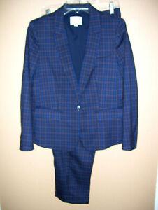 Ann Taylor Loft Julie NEW Pant Suit Navy Brown Check 10P Blazer Jacket 12P Pants