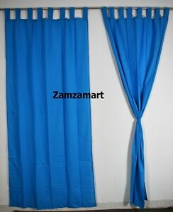 Blue Indian Plain Cotton Wall Hanging Curtains ,Home & Window Hanging VLANCES