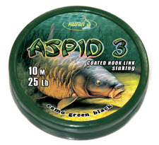 KATRAN ASPID 3 COATED BRAID HOOKLINK 25LB 10m CAMO GREEN / BLACK CARP RIGS