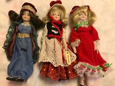 3 Vintage 1970's Vinyl & Porcelain International Doll Ethnic Dress 7 1/2""