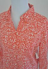 NEW OLD NAVY FLORAL PRINT Button SHIRT Women M Poppy Red White Long Sleeved