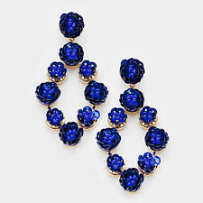 PARKER SPARROW ROYAL BLUE SEQUIN & SEED BEAD FLOWER STATEMENT EARRINGS