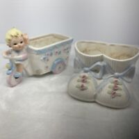 Napcoware Baby shoes C-5809 & Girl On Tricycle C-6979 Ceramic Planters