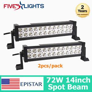"2X 14""inch 72W LED Work Light Bar Offroad 4WD SUV ATV UTE Truck BOAT SPOT 12""13"""