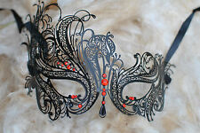 SWAN RED DIAMNONTE  METAL VENETIAN MASK.PROM. FANCY DRESS. MASQUERADE.BALL.