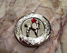 "Poodle Dog Red Crystal PHOTO LOCKET on Sterling Silver 18"" Chain Necklace, pet"
