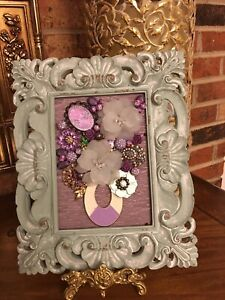 Mixed Media, Handmade,OOAK, Vintage and Contemporary Jewelry Art Framed