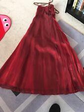 new size 6 maroon satin evening dress Debenhams