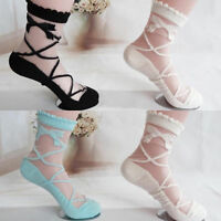 New Bowknot Sheer Mesh Bow Knit Frill Trim Transparent Crystal Lace Ankle Socks