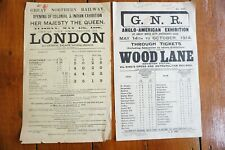 More details for 1886 1914 london & wood lane great northern railway handbill timetable x2 gnr
