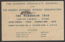 The Mannheim Trio 1964 India performance advertisement