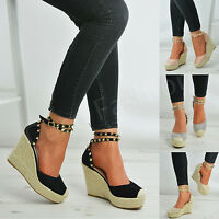 New Womens High Heels Wedge Pumps Ladies Espadrille Ankle Strap Studs Shoes Size