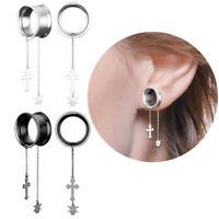 Pair Surgical Steel Dangle Skull Cross Chain Ear Gauges Plug Ear Stretcher Plugs