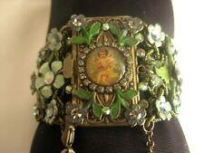MICHAL NEGRIN Vintage Flowers Cherub Cameo Crystals Lace BRACELET
