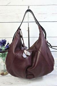 RADLEY Shoulder Slouch Hobo Bag Large Purple Pebbled Leather ~ Dog ~ Beautiful