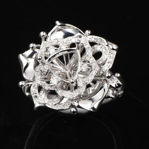Solid 14K White Gold 7*7MM Trillion Cut 0.29ct Diamond Engagement Ring Setting