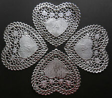 SILVER FOIL LACE ROSE LATTICE DOILY HEART DOILIES 4 INCHES X 10
