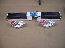 Vintage NOS 1964 1965 1966 Corvette Cross Flags Fender Emblems 3872930 38227158