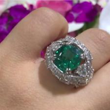 Marvelous 22.14TCW Emerald & Multi Shape Cubic Zirconia Wedding Women's Ring