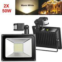 2X 50W LED Flood Light Outdoor Garden Lamp Waterproof Spotlight Motion Sensor