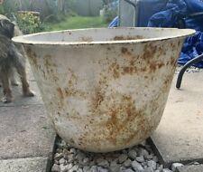 ANTIQUE cast iron WATER CAULDRON BOILING POT wash tub vintage garden planter